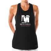 Ladies Under Armour Black Pinhole Tank-Mitchell College Vertical Logo