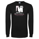 Black Long Sleeve T Shirt-Mitchell College Vertical Logo