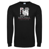 Black Long Sleeve T Shirt-Mitchell College Vertical Distressed