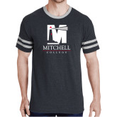 Black Heather/Grey Tri Blend Varsity Tee-Mitchell College Vertical Logo