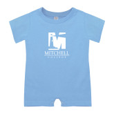 Light Blue Infant Romper-Mitchell College Vertical Logo