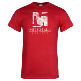 Red T Shirt-Mitchell College Vertical Distressed