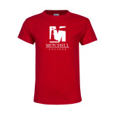 Youth Red T Shirt-Mitchell College Vertical Logo