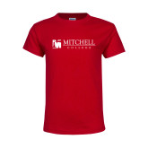 Youth Red T Shirt-Mitchell College Horizontal Logo