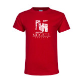 Youth Red T Shirt-Mitchell College Vertical Distressed