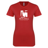 Next Level Ladies SoftStyle Junior Fitted Red Tee-Mitchell College Vertical Logo