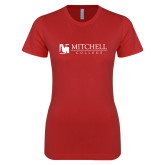 Next Level Ladies SoftStyle Junior Fitted Red Tee-Mitchell College Horizontal Logo