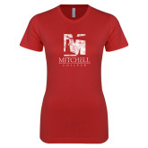 Next Level Ladies SoftStyle Junior Fitted Red Tee-Mitchell College Vertical Distressed