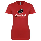 Next Level Ladies SoftStyle Junior Fitted Red Tee-Mitchell Mariners Stacked