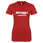 Next Level Ladies SoftStyle Junior Fitted Red Tee-Mitchell Mariners Wordmark