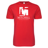 Next Level SoftStyle Red T Shirt-Mitchell College Vertical Logo