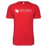 Next Level SoftStyle Red T Shirt-Mitchell College Horizontal Logo