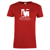 Ladies Red T Shirt-Mitchell College Vertical Logo