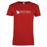 Ladies Red T Shirt-Mitchell College Horizontal Logo