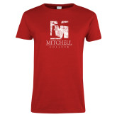 Ladies Red T Shirt-Mitchell College Vertical Distressed