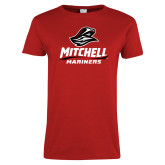 Ladies Red T Shirt-Mitchell Mariners Stacked