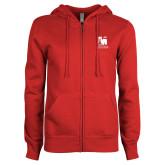 ENZA Ladies Red Fleece Full Zip Hoodie-Mitchell College Vertical Logo