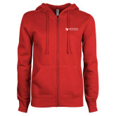 ENZA Ladies Red Fleece Full Zip Hoodie-Mitchell College Horizontal Logo