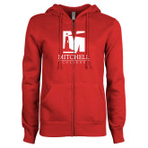 ENZA Ladies Red Fleece Full Zip Hoodie-Mitchell College Vertical Logo