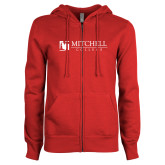 ENZA Ladies Red Fleece Full Zip Hoodie-Mitchell College Horizontal Logo