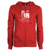 ENZA Ladies Red Fleece Full Zip Hoodie-Mitchell College Vertical Distressed