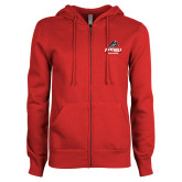ENZA Ladies Red Fleece Full Zip Hoodie-Primary Athletics Mark