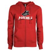 ENZA Ladies Red Fleece Full Zip Hoodie-Mitchell W Mariner