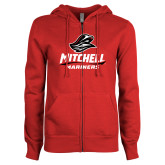 ENZA Ladies Red Fleece Full Zip Hoodie-Mitchell Mariners Stacked