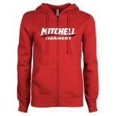 ENZA Ladies Red Fleece Full Zip Hoodie-Mitchell Mariners Wordmark