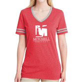 Ladies Red Heather/Grey Tri Blend Varsity Tee-Mitchell College Vertical Logo