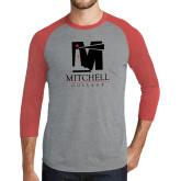 Grey/Red Heather Tri Blend Baseball Raglan-Mitchell College Vertical Logo