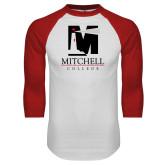 White/Red Raglan Baseball T Shirt-Mitchell College Vertical Logo