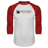 White/Red Raglan Baseball T Shirt-Mitchell College Horizontal Logo