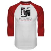 White/Red Raglan Baseball T Shirt-Mitchell College Vertical Distressed