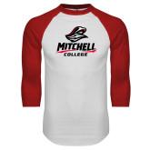 White/Red Raglan Baseball T Shirt-Primary Athletics Mark