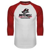 White/Red Raglan Baseball T Shirt-Mitchell Mariners Stacked