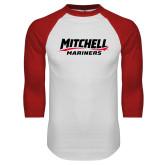 White/Red Raglan Baseball T Shirt-Mitchell Mariners Wordmark