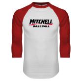 White/Red Raglan Baseball T Shirt-Baseball Wordmark