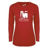 Ladies Syntrel Performance Red Longsleeve Shirt-Mitchell College Vertical Logo