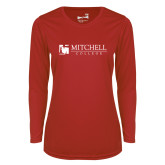 Ladies Syntrel Performance Red Longsleeve Shirt-Mitchell College Horizontal Logo