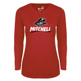 Ladies Syntrel Performance Red Longsleeve Shirt-Mitchell W Mariner