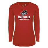 Ladies Syntrel Performance Red Longsleeve Shirt-Mitchell Mariners Stacked