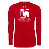 Under Armour Red Long Sleeve Tech Tee-Mitchell College Vertical Logo