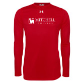 Under Armour Red Long Sleeve Tech Tee-Mitchell College Horizontal Logo