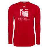 Under Armour Red Long Sleeve Tech Tee-Mitchell College Vertical Distressed