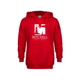 Youth Red Fleece Hoodie-Mitchell College Vertical Logo