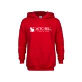 Youth Red Fleece Hoodie-Mitchell College Horizontal Logo