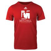 Adidas Red Logo T Shirt-Mitchell College Vertical Logo