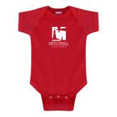 Red Infant Onesie-Mitchell College Vertical Logo