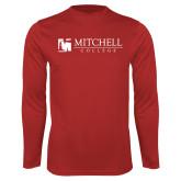 Performance Red Longsleeve Shirt-Mitchell College Horizontal Logo